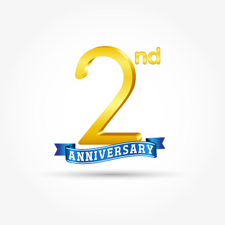 2nd golden Anniversary  with blue ribbon isolated on white background. 3d gold 2nd Anniversary