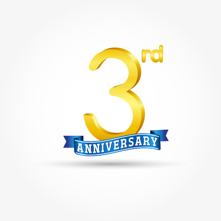 3rd golden Anniversary  with blue ribbon isolated on white background. 3d gold 3rd Anniversary