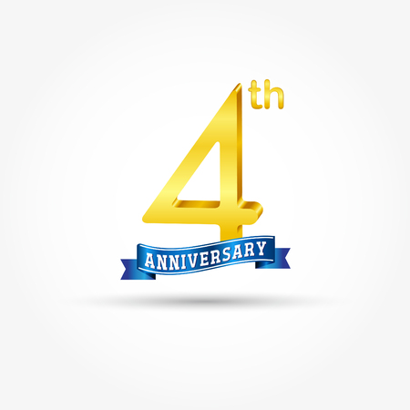 4th golden Anniversary  with blue ribbon isolated on white background. 3d gold 4th Anniversary