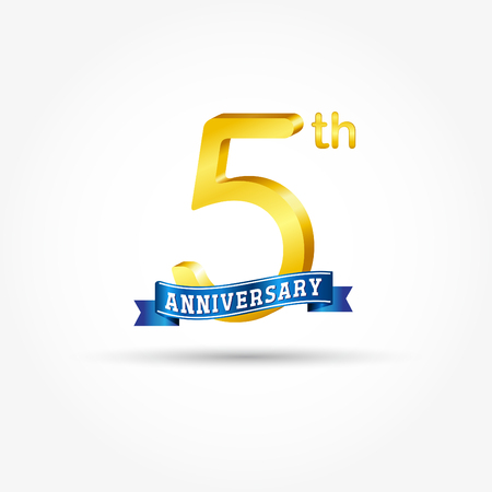 5th golden Anniversary  with blue ribbon isolated on white background. 3d gold 5th Anniversary Çizim