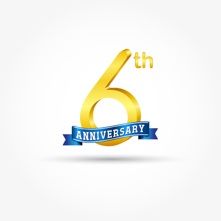 6th golden Anniversary  with blue ribbon isolated on white background. 3d gold 6th Anniversary