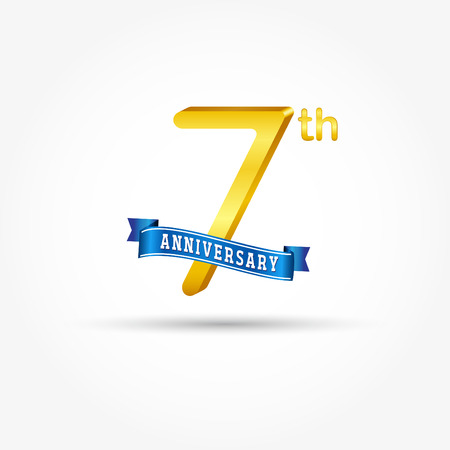 7th golden Anniversary  with blue ribbon isolated on white background. 3d gold 7th Anniversary Çizim