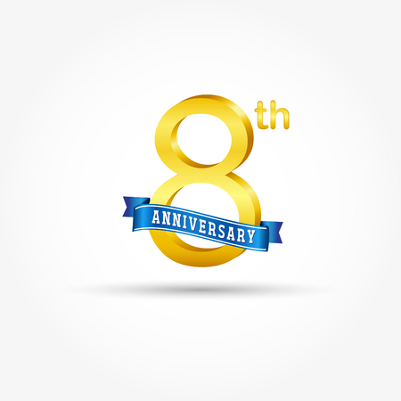 8th golden Anniversary  with blue ribbon isolated on white background. 3d gold 8th Anniversary Çizim