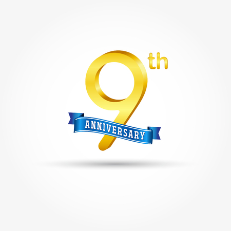 9th golden Anniversary  with blue ribbon isolated on white background. 3d gold 9th Anniversary Çizim