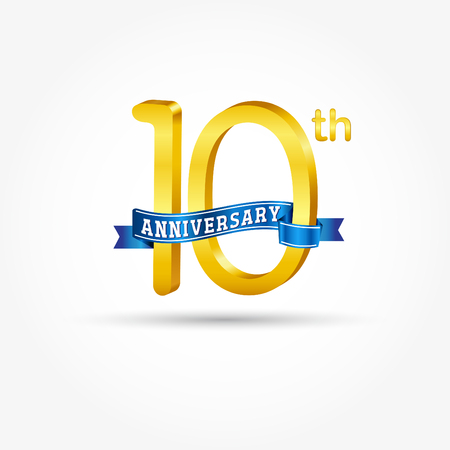 10th golden Anniversary  with blue ribbon isolated on white background. 3d gold 10th Anniversary Çizim