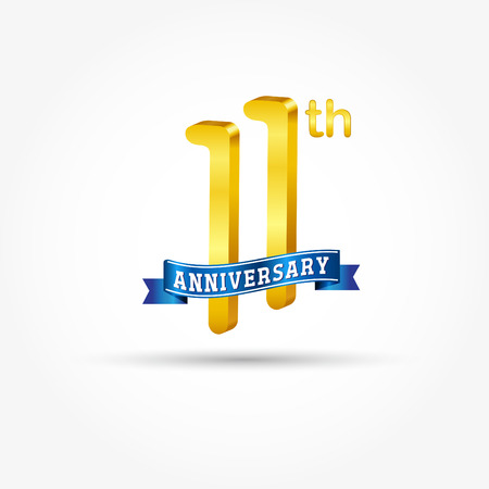 11th golden Anniversary  with blue ribbon isolated on white background. 3d gold 11th Anniversary