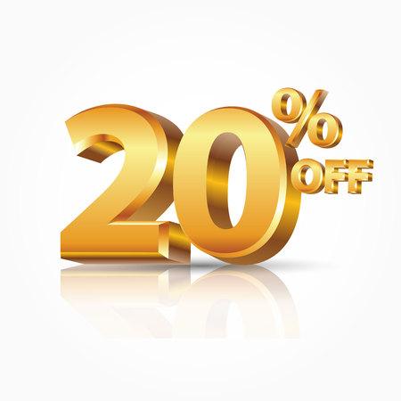 3D-vector glanzende gouden tekst 20 procent korting geïsoleerd op een witte achtergrond met reflectie. Vectorillustratie voor promotie korting verkoop reclame.