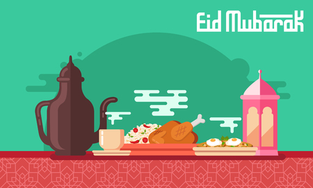 Eid Mubarak greeting card in flat style vector illustration with   arabic coffee pot and cup, kabsa, shakshuka and lantern.