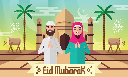 Happy moslem couple celebrate for eid mubarak with mosque, drum and   palm tree background.