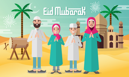 Happy moslem family celebrate for eid mubarak with mosque, drum and   desert background.