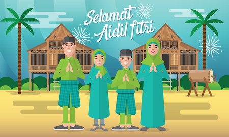 Happy moslem family celebrate for aidil fitri with traditional malay village house/Kampung and drum on background Stock Illustratie