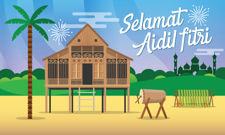 Selamat hari raya aidil fitri greeting card in flat style vector   illustration with traditional malay village house / Kampung,mosque,  drum and lamang on background.