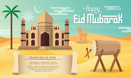 Eid Mubarak greeting card in flat style vector illustration with   mosque, palm tree, camel, drum and desert background.