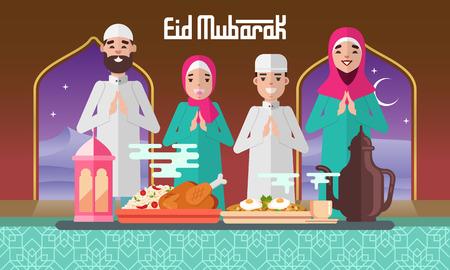Happy moslem family celebrate for eid mubarak with plentiful food and lantern. Çizim