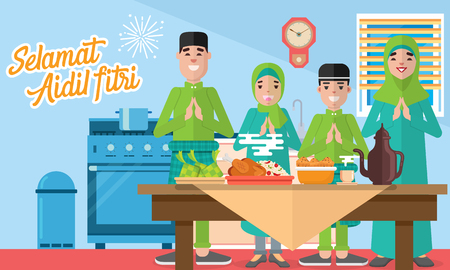 Happy moslem family celebrate for aidil fitri with plentiful food, desserts and rice dumpling/ketupat
