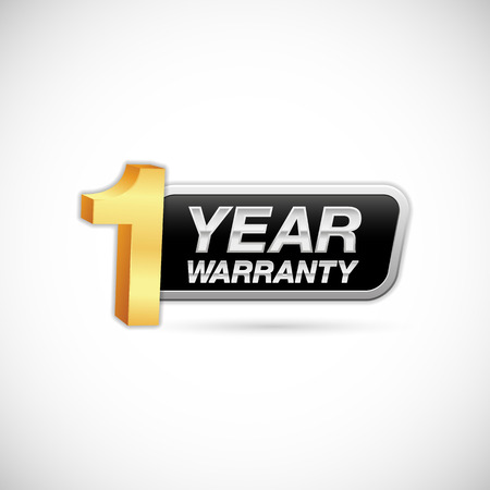 1 year warranty golden and silver badge isolated on white background