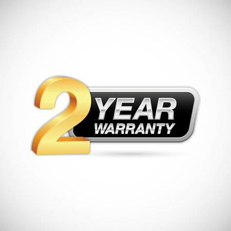 2 year warranty golden and silver badge isolated on white background