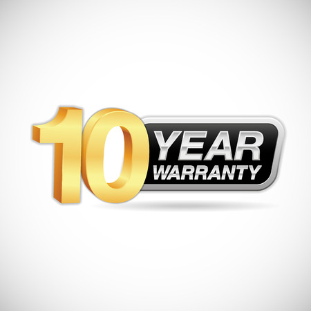 10 year warranty golden and silver badge isolated on white background Illustration