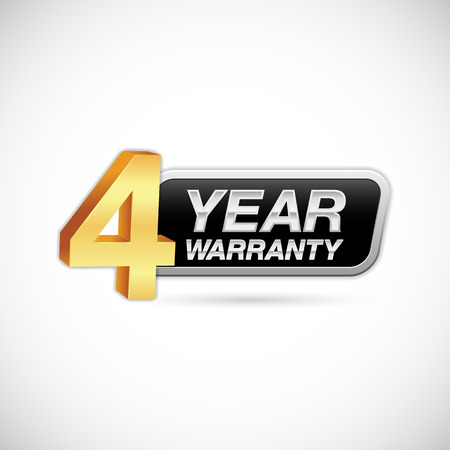 4 year warranty golden and silver badge isolated on white background Vettoriali
