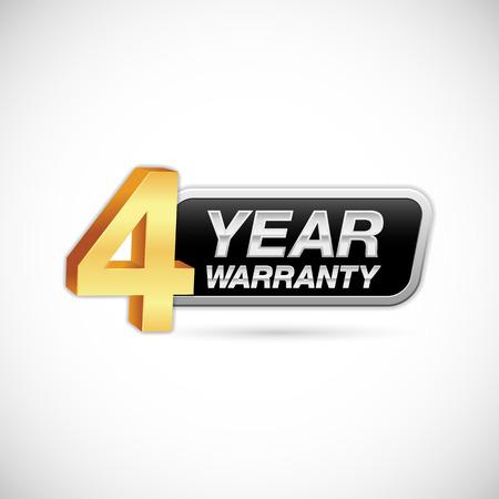 4 year warranty golden and silver badge isolated on white background Ilustração