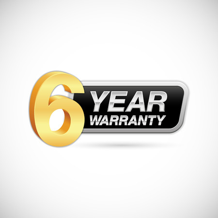 6 year warranty golden and silver badge isolated on white background