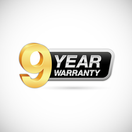 9 year warranty golden and silver badge isolated on white background