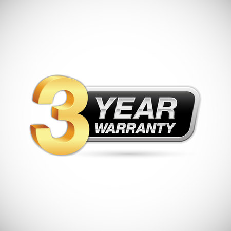 3 year warranty golden and silver badge isolated on white background
