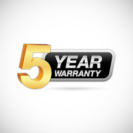 5 year warranty golden and silver badge isolated on white background Illustration