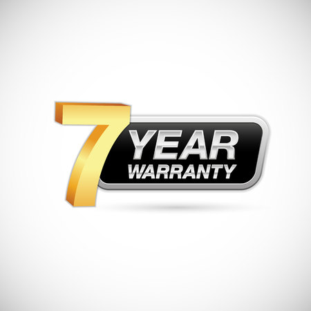 7 year warranty golden and silver badge isolated on white background Çizim