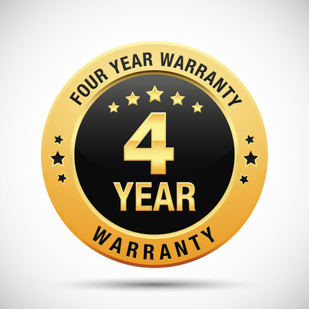 4 year warranty golden label isolated on white background
