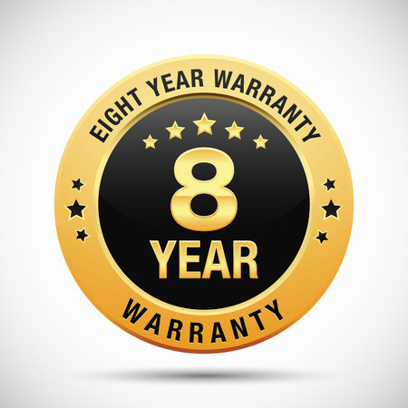 8 year warranty golden label isolated on white background
