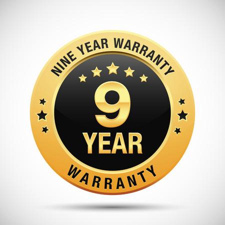 9 year warranty golden label isolated on white background Illustration
