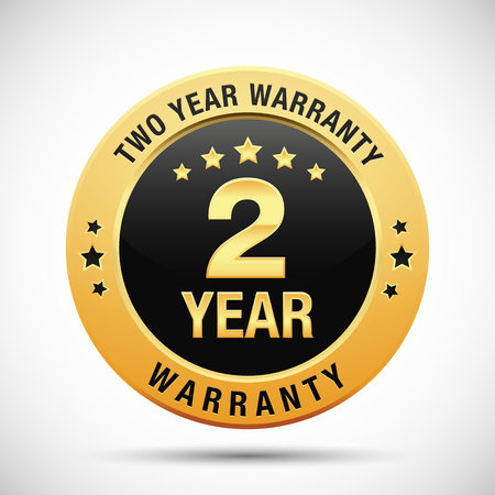 2 year warranty golden label isolated on white background Stok Fotoğraf - 102956485