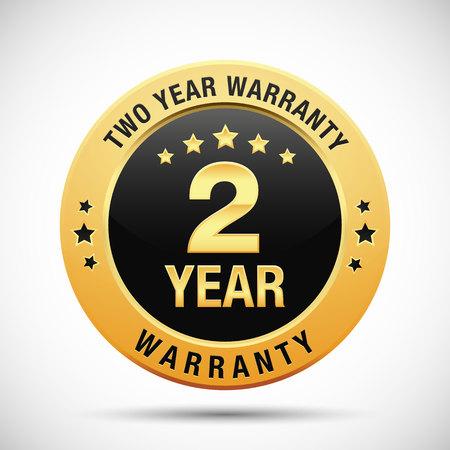 2 year warranty golden label isolated on white background Illustration