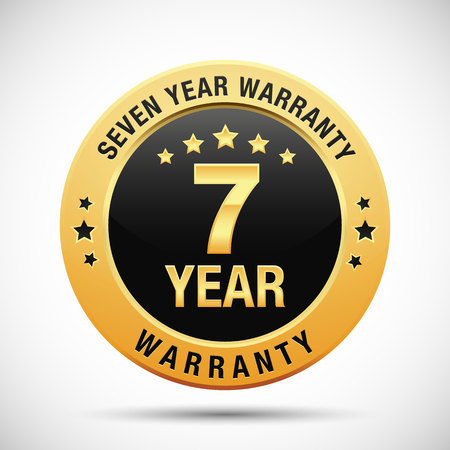 7 year warranty golden label isolated on white background