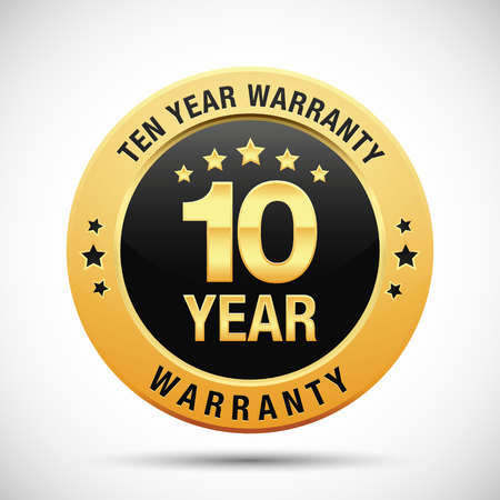 10 year warranty golden label isolated on white background