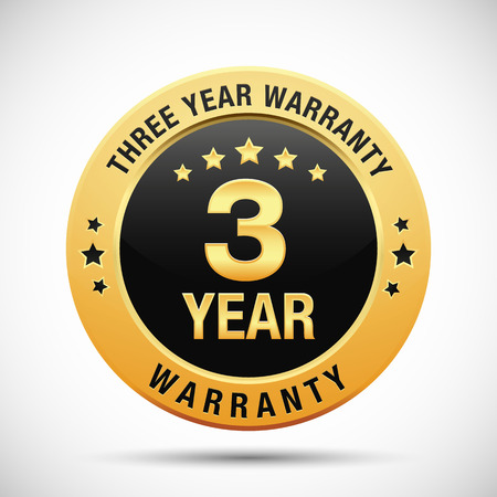 3 year warranty golden label isolated on white background