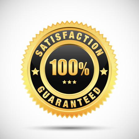 100% satisfaction guarantee golden label isolated on white background Çizim