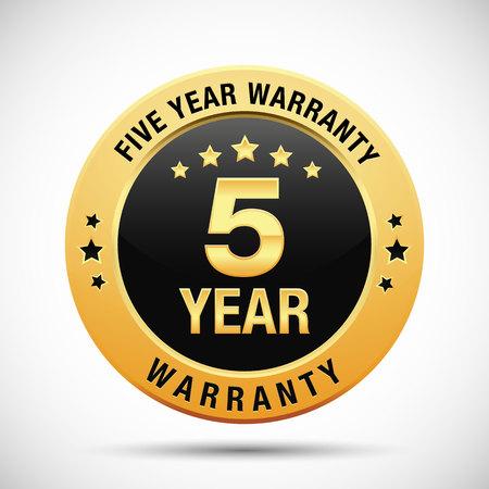 5 year warranty golden label isolated on white background Illustration