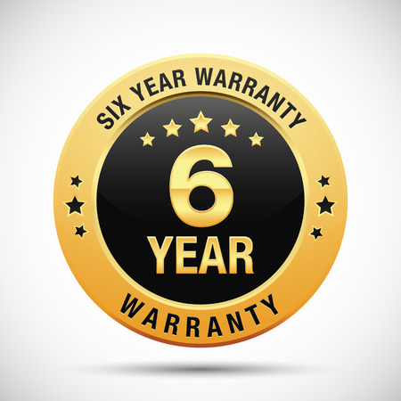 6 year warranty golden label isolated on white background