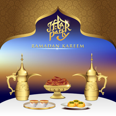 Iftar party celebration foods with teapot set and bowl of dates on dinner table. iftar party invitation card Çizim