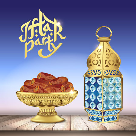 Arabic lantern and classic bowl of dates on wooden table. ramadan iftar party food. 3d realistic vector illustration