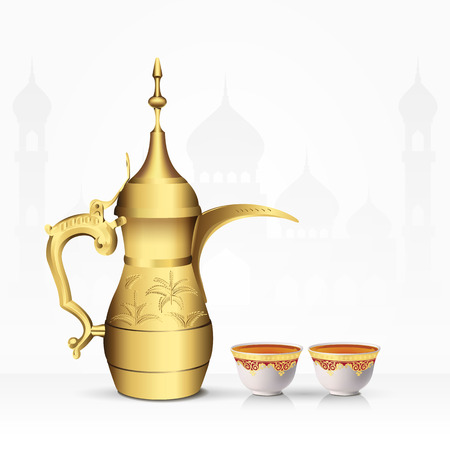 Vintage arabic tea pot and tea cup isolated on white background. 3d vector illustration Illustration