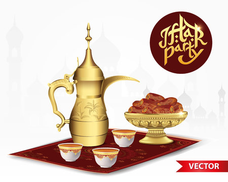 Iftar party food with classic arabic teapot and cup, bowl of dates isolated on white background. 3d vector illustration