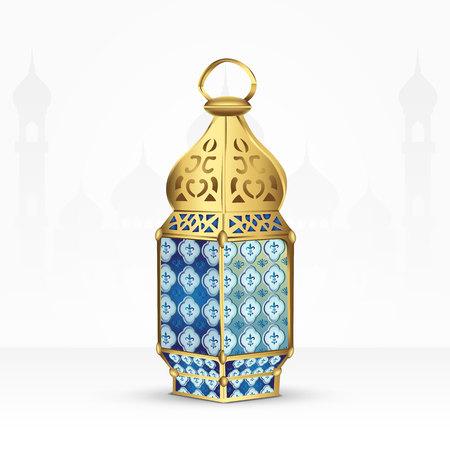 Arabic lantern isolated on white background. islam symbol Çizim