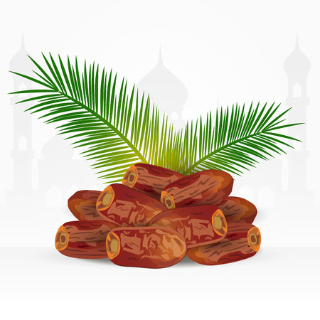 Date fruits with palm leaves isolated on white background. ramadan iftar food Çizim