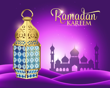 Elegant Ramadan Kareem background with arabic lantern for the Holy Month Occasion of fasting. 3d vector illustration Çizim