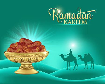 Ramadan kareem background with bowl of dates. ramadan greeting card