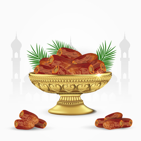 Vintage bowl of dates with palm leaves isolated on white background. ramadan iftar food. 3d vector illustration