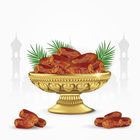 一碗古老的枣,棕榈叶孤立在白色的背景上。斋月开斋的食物。3 d矢量图